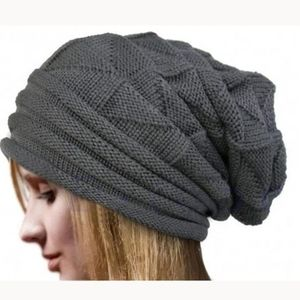 Gray Unisex Slouch Knitted Beanie